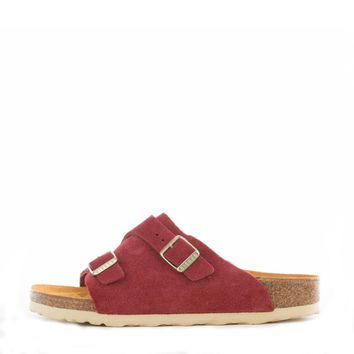 Birkenstock for Women: Zurich Red Suede Sandals-1