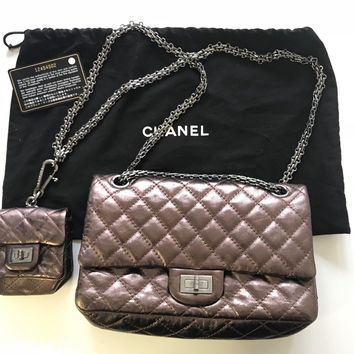 BRAND NEW limited edition reissue Chanel 2.55 metallic bag with mini purse