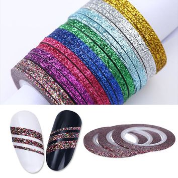 Nail Art Matte Glitter Nail Striping Tape Line Holo Rainbow Matte 1mm 2mm 3mm Adhesive Sticker Nail Foil Tips DIY Design