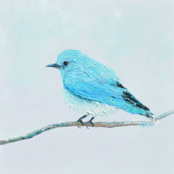 Bird Painting, BLUEBIRD art, bird artwork, original oil painting, bird art, living room art, home decor, Etsy art, bedroom art, Jan Matson