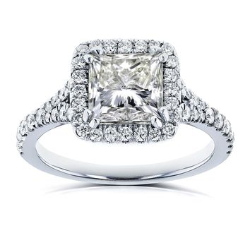 GIA Certified 2 4/5 Carat TW Princess Diamond Halo Engagement Ring in 18k White Gold