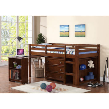 Donco Kids Donco Kids Twin Low Loft Bed with Roll-Out Desk, Chest, and Bookcase