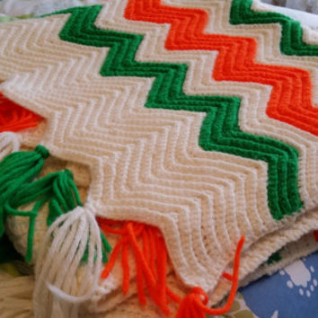 Vintage Orange White and Green Fringed Chevron Pattern Crochet Blanket Throw Great Retro Decor Warm Comfy Snuggly