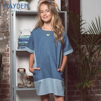 HAYDEN teenage girls dresses 8 10years denim costume summer autumn children costumes for girls clothe 12Y teens fashion clothing