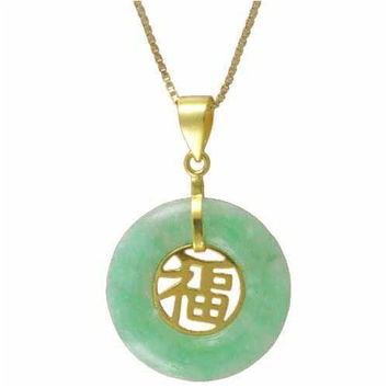 18k Gold over  Sterling Silver Genuine Green Jade Blessing Pendant