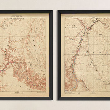 Antique Maps of the Grand Canyon - Historic USGS Topographic Maps - Set of 2 Prints - Archival Reproduction
