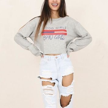 Good Girls Bad Girls Crop oversize Pullover Sweater