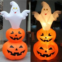Halloween Inflatable Lantern Pumpkin & Ghost Patch Outdoor Decor Lawn Yard New