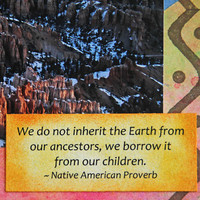Kokopelli Dancing on Bryce Canyon Photo Art Card, Southwestern Coyote and Native American Proverb, Mixed Media Card, Fine Art Photography