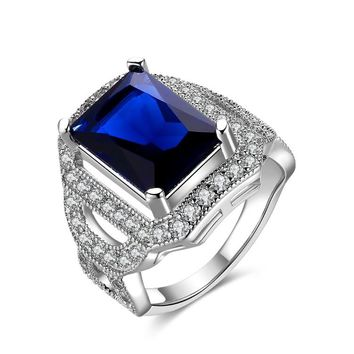 Sapphire Emerald Cut Micro-Pav'e White Gold Cocktail Ring