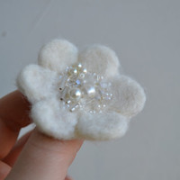 White Wool Felt Little Flower Pin - Woodland Blossom  - Pearly Sparkly Beads - Christmas gift idea