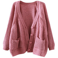 Batwing Sleeve Single Breasted Knit Sweater