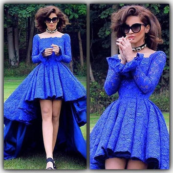 Royal Blue Lace High Low Formal Prom Dresses Backless Long Sleeve Arabic Evening Dresses Square Party Gowns Robe de soiree