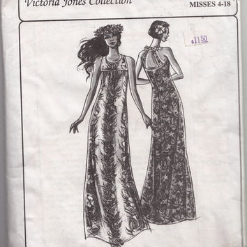 Womens Muumuu Dress Sewing Pattern Victoria Jones Collection 309 Back Straps & Bow Flared Dress Petite - Plus Size 4-18 Bust 29.5 - 40 UNCUT