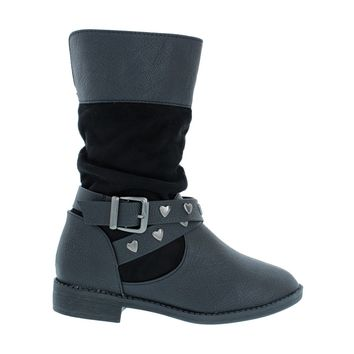 Studded Buckle Kids Flat Boot (BLACK)