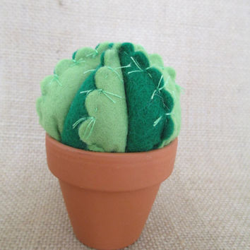 Handmade Felt Cactus in terracotta pot ornament or pincushion