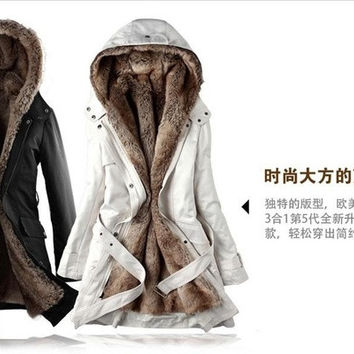 2014 new fashion hot sale Faux fur lining women's fur Hoodies Ladies coats winter warm long coat jacket cotton clothes thermal parkas WWM056 = 1931849412