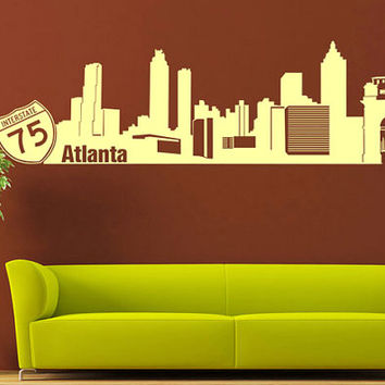 rvz1016 Wall Vinyl Sticker Bedroom Decal Words Sign Atlanta Town City Skyline