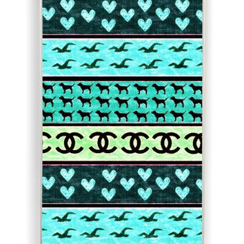 iPhone 4 Case - Rubber (TPU) Cover with red hollister seagulls chanel sign hearts stripes Rubber Case Design