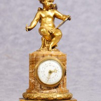 Canonbury - Antique French Empire Cherub Clock Mantle Clocks Ormolu 1890