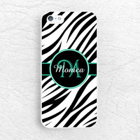 Zebra pattern Monogram Initial custom name Phone Case for iPhone 6, Samsung S6 LG g4, HTC one M9 m8, Moto X Moto G, personalized phone cover