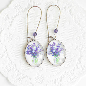 Bouquet of violets earrings - Natural history jewelry - Free Worldwide Shipping - Gift for her under 25 USD