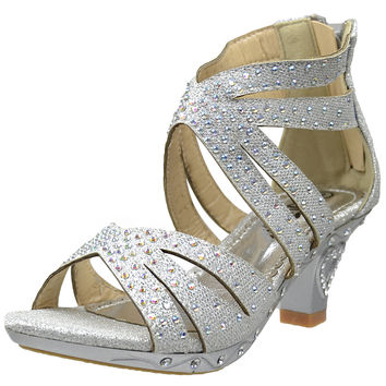 Kids Dress Sandals Rhinestone Glitter Cutout High Heel Pageant Shoes Silver SZ