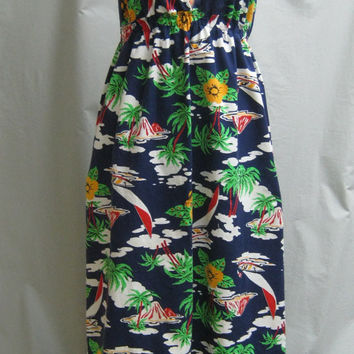 Vintage 70s TROPICAL Print COTTON Halter Maxi DRESS Tiki Sundress Backless Boho Cocktail Party