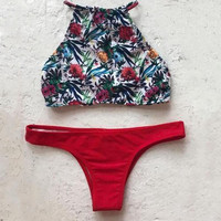 High Neck Print Halter Bikini Swimsuit Swimwear