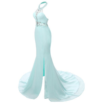Sleeveless  Mermaid Prom Dresses Floor Length Elegant Long Formal Dresses Sexy Prom Gowns 2015