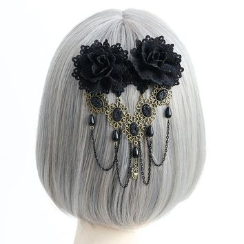 Barrette Women Sexy Elegant Girl Gothic Double Black Flower Lace Rhinestone Chain Drop Hair Clip Pin Headwear Costume Ball Party