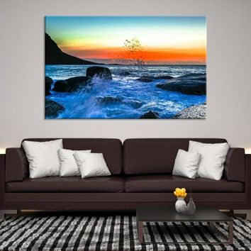 95032 -  Waves on Ocean Scape Wall Art Canvas Print