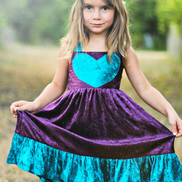 Poor Pitiful Pearl Kids Crushed Velvet Heart Dress