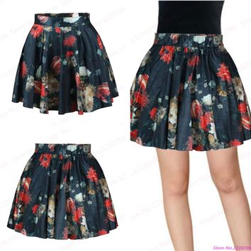 Watercolor Floral Women MiniSkirts Vintage High Waist A-Line Tennis Skirts Above Knee Black Skirts Sport Kilts Femininas Saias