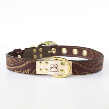 Camo Dog Collar with Brown Leather + Ivory Stitching