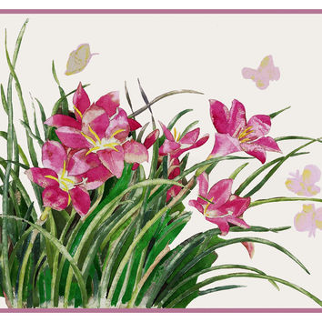 Pink Lily Flowers Butterfly Still Life by American Artist Charles Demuth Counted Cross Stitch or Counted Needlepoint Pattern