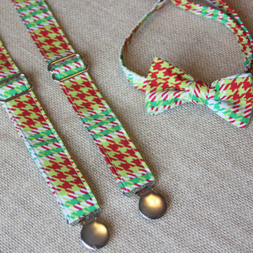 Red and Green Houndstooth Bow Tie and Suspender set ( Men, boys, baby, toddler, infant ) Bow Tie, Bowtie, Suspenders, Suspender Set