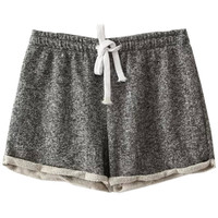 Deep Grey Elastic Waist Turned Edge Terry Shorts