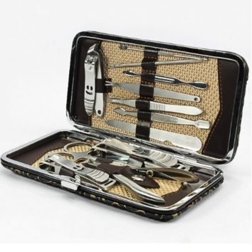 12PCS Smile Nail Care Personal Manicure & Pedicure Set, Leather Travel & Grooming Kit