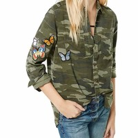 Women's Green Camo Button Up Shirt with Butterfly Patch Applicade