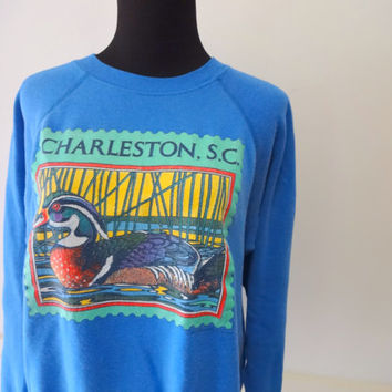 Vintage Wood Duck Charleston, SC  Sweatshirt 1980s