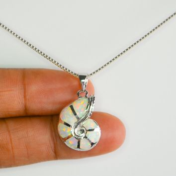 Opal Necklace, Snail Shell Necklace, White Opal Necklace, Opal Jewelry, Opal Shell Necklace, Sterling Silver Opal Necklace, Bridesmaid Gift