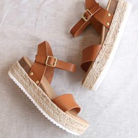 Strappy Espadrille Platform Sandals in Tan
