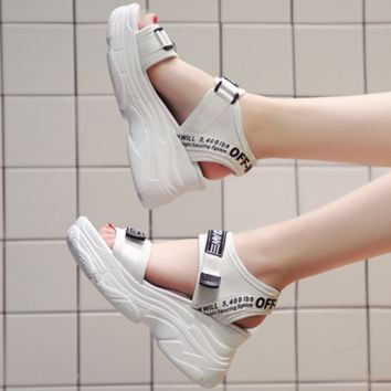 OFF-WHITE 2018 summer new wild muffin thick bottom increased casual sandals F0501-1 white