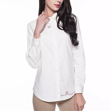 Heart Embroidered Long-Sleeve Button Collared Shirt