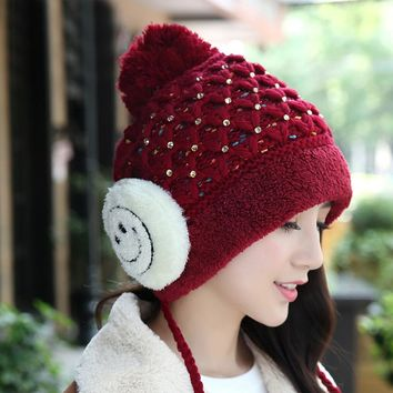 Rhinestones Decorated Winter Woolen Yarn Hats for Women with Yarn Balls and Smiling Face Thick Winter Caps Girls Cute Beanies