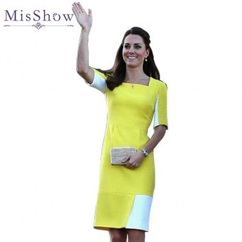 Patchwork Autumn Kate Middleton Woman Dress Vestidos Mujer 2016 Polyester Sheath Office Work Ladies Pencil Dresses Herfst Jurk
