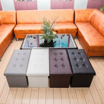 Details about  Folding Faux Leather Ottoman Pouffe Storage Box Seat Footstool Multiple Colors