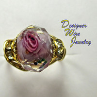DWJ0235 Romantic Faceted Rose Pink Crystal Rose Gold Tone Wire Wrap Ring All Sizes
