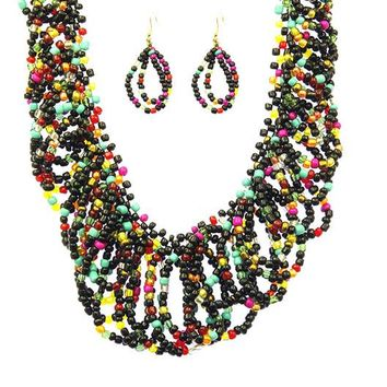 Looped Micro Bead Necklace Set with Matching Earrings